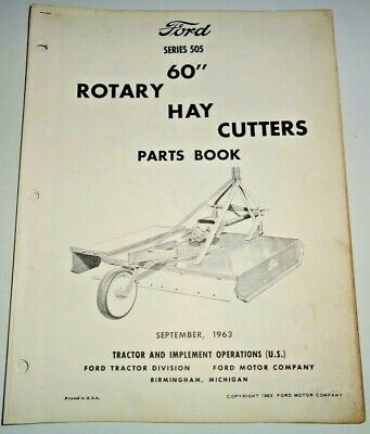 Ford Series 505 60 Rotary Hay Cutter Mower Parts Catalog Manual Book Original