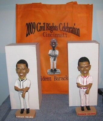 PRESIDENT BARACK OBAMA BOBBLEHEAD 2009 Civil Rights Celebration Pair (2) + Bag