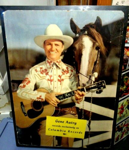 GENE AUTRY Columbia Records STORE DISPLAY LITHO Cardboard SIGN w/CHAMPION Rare