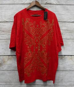 Sean John Big & Tall Mens Size 3XB Red Gold Foil Lion Design T-Shirt New