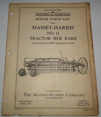 Massey Harris 11 Horse Tractor Drawn Rake Parts Catalog Manual Original 41947