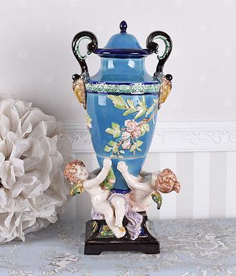 Amphore PORZELLAN PRUNKGEFÄSS AMORETTEN ENGEL FIGUREN ANTIK Vase