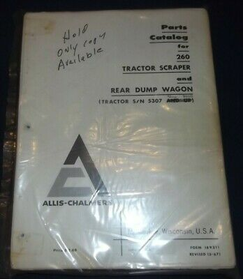 Allis Chalmers 260 Motor Tractor Scraper Parts Manual Book Sn 4001-8000