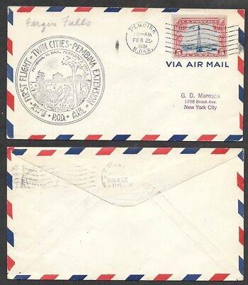 1931 First Flight Air Mail Cover   Pembina  North Dakota