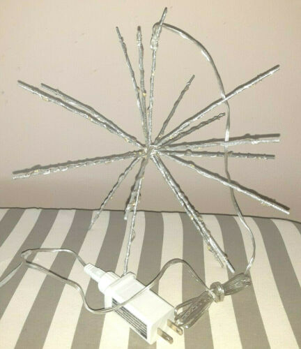 Indoor Outdoor Twinkling Hanging LED Lit Wire Pronged Star Snowflake Ornament