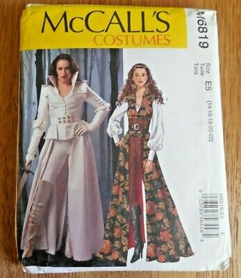 NEW McCall's Costume Pattern M 6819 Misses' sz 14-22 Steampunk Coat*Corset*Top