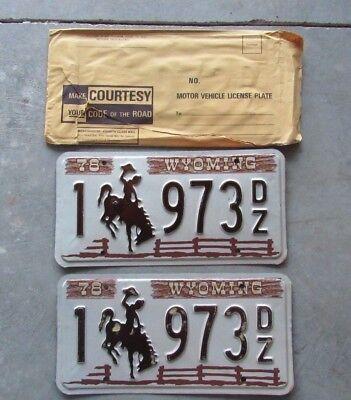 Unused pair 1978 Natrona County Wyoming License Plate #1-973 Passenger Man Cave