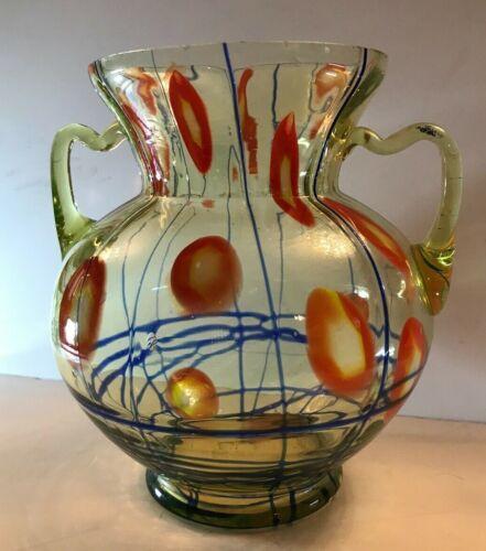 Kralik Uranium Art Glass Art Deco/Nouveau Double Handled Vase - Lines & Canes