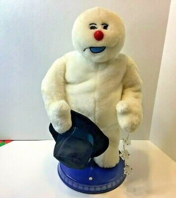 Gemmy Spinning Snowflake Frosty the Snowman Animated Christmas Figure 2004 AS IS
