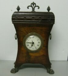 Old World Map Mantel Shelf Quartz Clock Aged Worn Finished Claw Feet