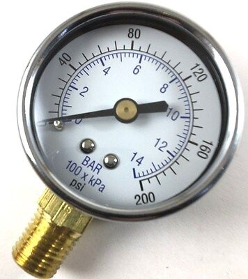 Sanborn 032-0025 Pressure Gauge 0-200 Psi With 14 Inch Male Thread 2 Face
