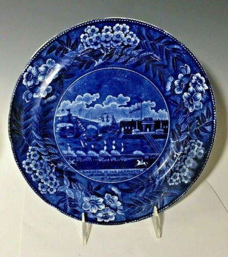 "Blue Transfer CLEWS Staffordshire Landing Lafayette 10"" Plate, New York, 1824"