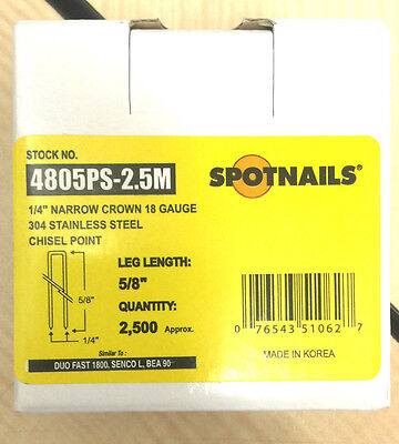 Spot Nails Spot Nails 4805ps 18 Gauge304stainless Steel Staples With 14-inch