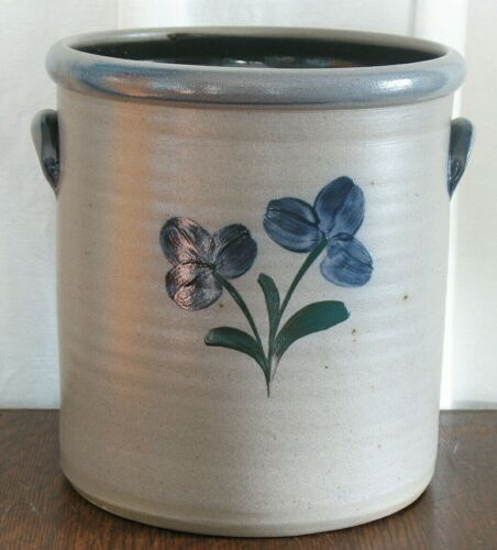 Wisc. ROWE POTTERY       *LARGE 2 Gallon SALT GLAZE CROCK      *FREE SHIPPING