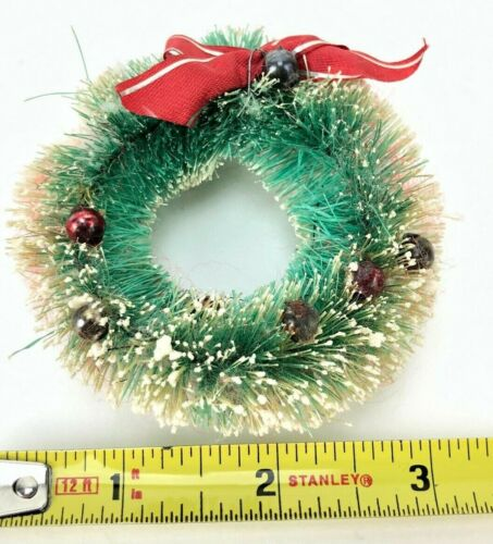 "TRUE Vintage Flocked Bottle Brush Wreath 3""  Green, Mercury Glass Ornaments SNOW"