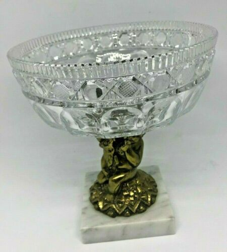 Hollywood Regency Crystal Bowl Cut Glass Brass Pedestal Cherub Marble Base Vtg