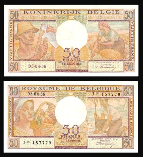 BELGIUM 50 Francs 1956 P-133  XF
