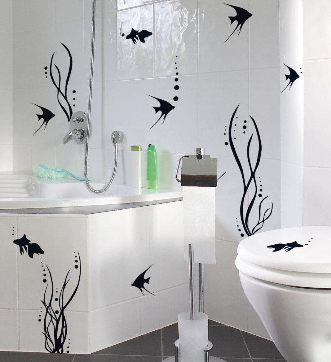 2 x Bad Deko Set FISCHWELT 28 Aufkleber Fische Fliesen Wandtattoo Sticker WC