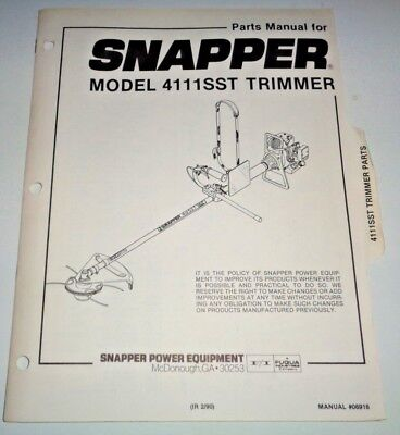 Snapper 4111sst Trimmer Parts Catalog Manual 290
