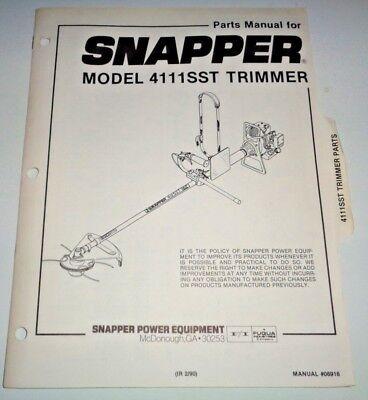 Snapper 4111sst Trimmer Parts Catalog Manual 290
