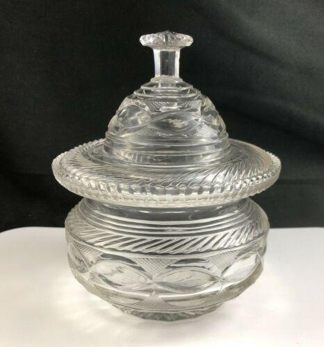 🟢 Antique Georgian Period Anglo Irish New England Cut Glass Butter Cooler & Lid