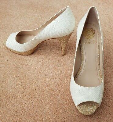 Vince Camuto Ashlynn White Raffia Court Shoes