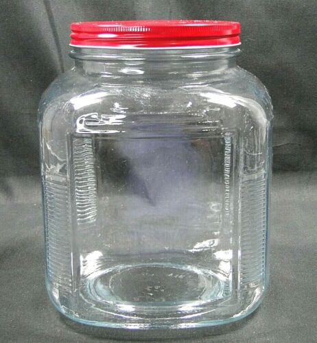 """Vintage SQUARE GLASS COFFEE JAR KITCHEN CANISTER w RED TIN LID 8.5""""x6.25"""""""