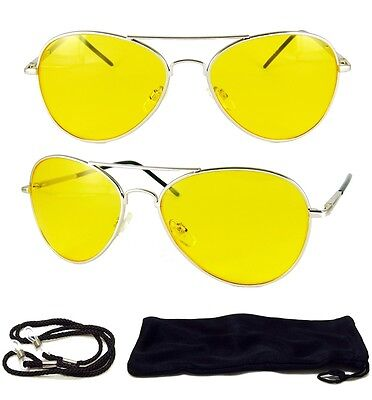 New AVIATOR Yellow Lens UV 400 Silver Sunglasses Night Vision Driving Glasses