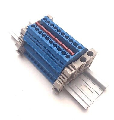 Power Distribution Terminal Blocks 10 Gang Blue Din Rail Dinkle 12awg 20a 600v