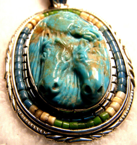 FRANCISCO GOMEZ STERLING CARVED TURQUOISE HORSE PENDANT LIQUID SILVER NECKLACE