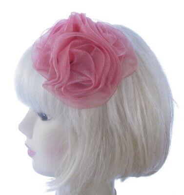 Pequeño Rosa Brillo Broche Tocado Mujer Boda Royal Ascot