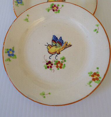 Vintage Italian Rustic Hand Painted Plates with Bird Set of 2