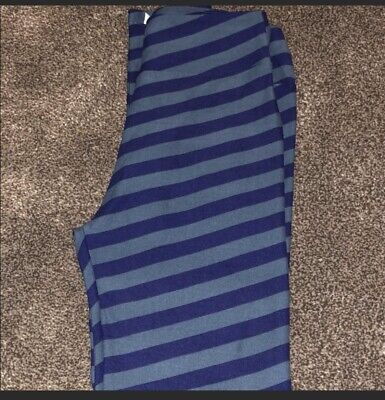 Blue And Grey Striped Leggings (LulaRoe OS Stripe Leggings - Blue And Gray Background -)