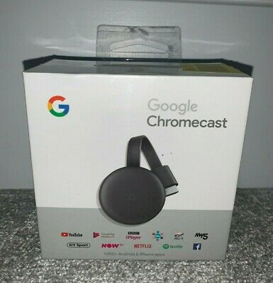 Official GOOGLE CHROMECAST 3rd Generation (3rd Gen) - Black - NEW & SEALED
