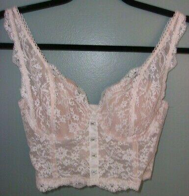 Ivory Long Line Lace (Victoria's Secret 34C Ivory Swiss Dot Lace Dream Angels Long Line Lined Demi)