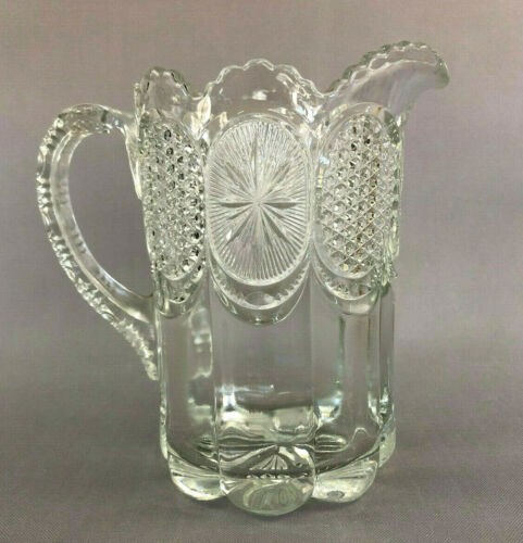 Antique Edwardian U.S. Glass Co. pressed glass water pitcher THE STATES c.1905