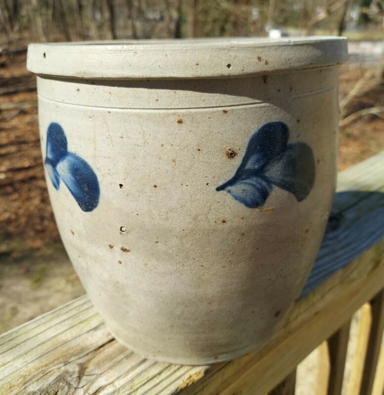 "Cobalt Blue ""Baltimore Clover pattern"" *Ironware Crock *Maryland Stoneware Pot *"