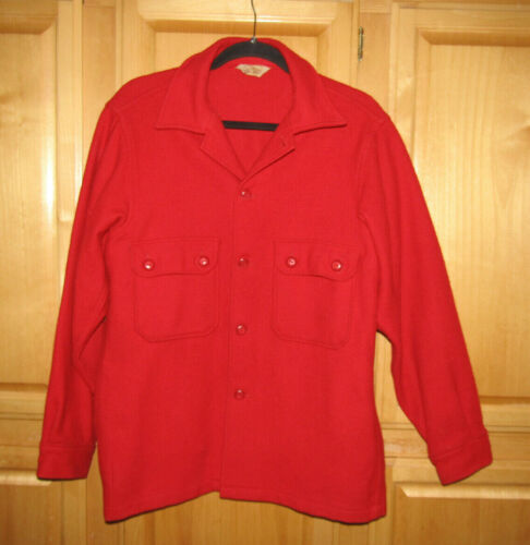 Vintage Boy Scouts Of America Official Red Wool Jacket Shirt Mens Size 42