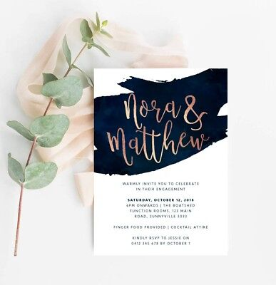 Printable Engagement Party Invitation Classy Navy Rose Gold Digital File (Rose Printable Invitations)