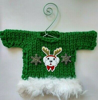 Green and White Dog Themed  Mini  Hand Knit Sweater Christmas  Ornament  ()