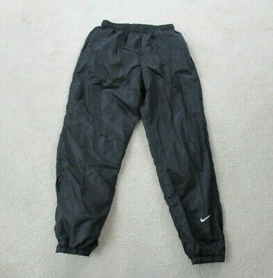 VINTAGE Nike Pants Adult Large Black White Swoosh Warm Up Windbreaker Men 90s A0