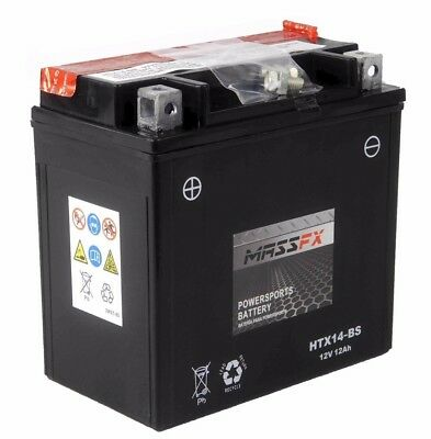 MASSFX HTX14-BS Maintenance Free VRLA Replacement Battery YTX14-BS CTX14-BS