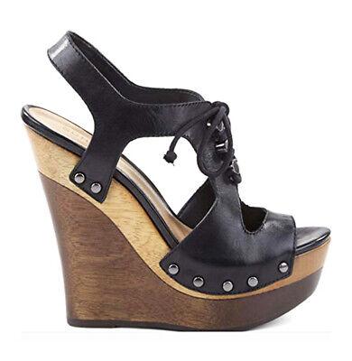Schutz Masion Black leather High Platform Wedge Tie Up Sandals Black High Wedge