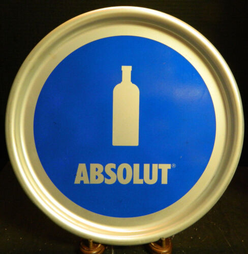 "Vintage Absolut Vodka 14"" Aluminum Round Tray Excellent Condition"