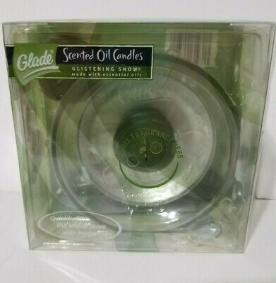 Glade Scented Oil Candles GLISTENING SNOW 1 holder, 2 Refills NIB 2 Glade Scented Oil