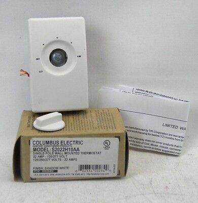 Columbus Electric Single Pole22 Amp-125277 Voltwall Mounted Thermostat A3
