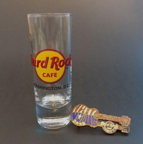 Hard Rock Cafe~Washington, DC~Double Neck Voting Guitar Pin & Tall Shot Glass