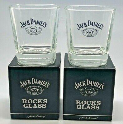 PAIR OF JACK DANIELS ROCKS GLASSES - BNIB - GIFT SET PUB BAR WHISKEY 2 TWO