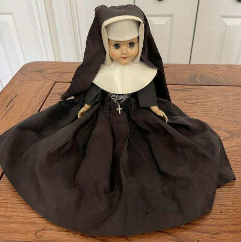 "Vintage Nun Sister Doll Black Habit Catholic with cross 12"" tall Plastic Body"