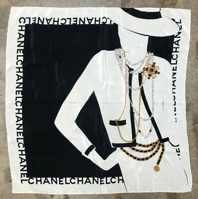CHANELVTG Black White Necklace Belt Chain Lady Print Pattern Silk Square Scarf Vintage Scarf & Chain Necklace